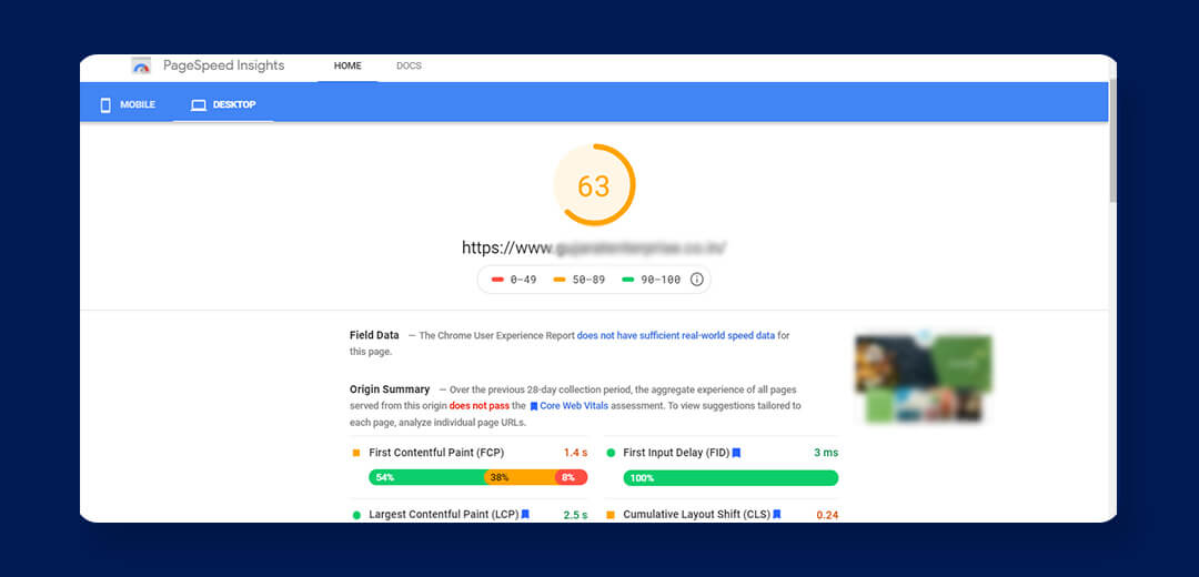 Mobile friendly page speed tool